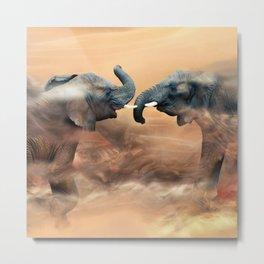 Elephants fighting Metal Print