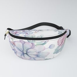 Pretty Blue Pink Succulents Garden Fanny Pack