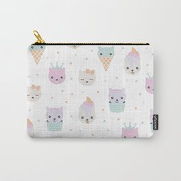 Kawaii breeze summer kitty cupcake cats and snow one ice cream kittens Carry-All Pouch