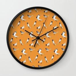 Bird Print - Orange Wall Clock