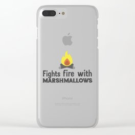 Fights fire with marshmallows Clear iPhone Case