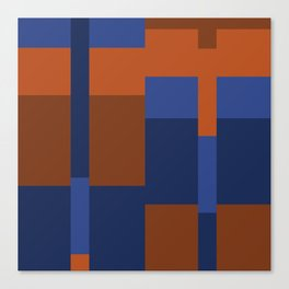 Squares II in Blues ad Tans Canvas Print