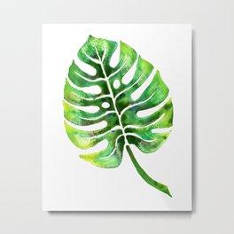 Monstera Green Leaf Metal Print