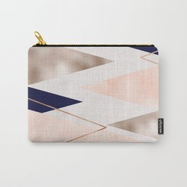 Rose gold french navy geometric Carry-All Pouch