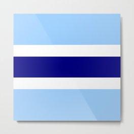Horizontal stripes 4 Dark blue and light blue Metal Print