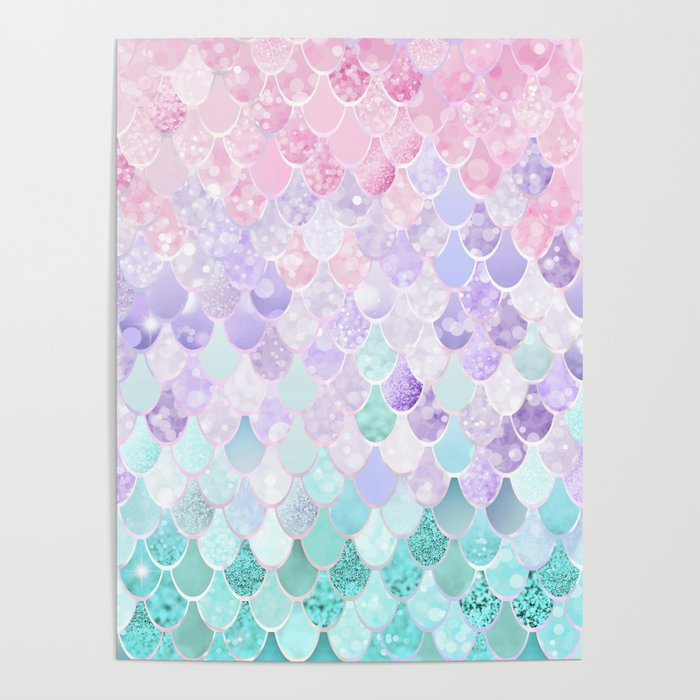 Mermaid Pastel Iridescent Poster