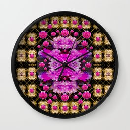 Flowers and gold in fauna decorative style Wall Clock
