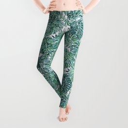 JUNGLE VIBES Green Tropical Monstera Leaves Leggings