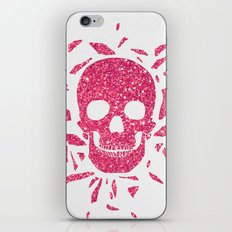 Girly Pink Glitter Abstract Skull Cool Photo Print iPhone & iPod Skin