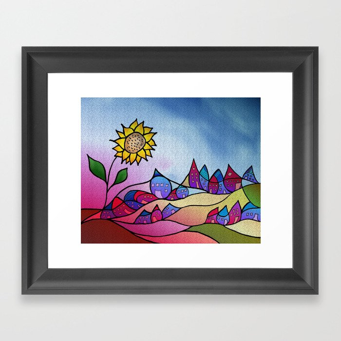 my little village and its sun -3- Framed Art Print