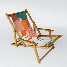 italy coast houses minimal abstract painting Sling Chair