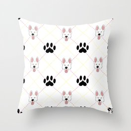 White German Shepherd Paw Print Pattern Throw Pillow