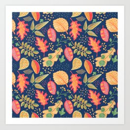 Yellow Autumn Leaves on Blue,Vibrant Crayon Drawing Art Print