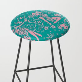 Tiki Temptress in Pink and Turquoise Bar Stool