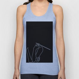Minimal line drawing of Audrey Hepburn in the famous Breakfast at Tiffany's Unisex Tank Top