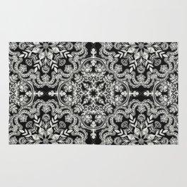 Black & White Folk Art Pattern Rug