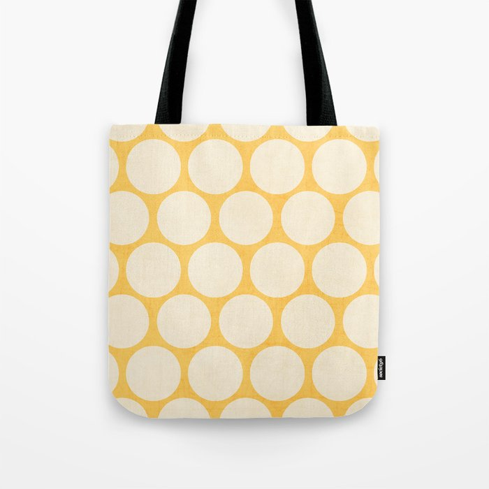 35d719dbb7 yellow and white polka dots Tote Bag by herart