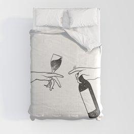 Wine connecting people. Comforters