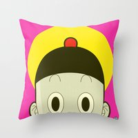 poker Throw Pillows featuring Poker Face by Cyborgking