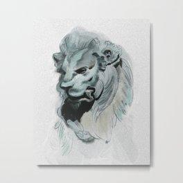 lion sculpture Metal Print
