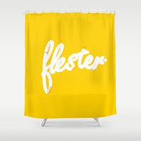 sticker Shower Curtains featuring Flester logo sticker by Flester