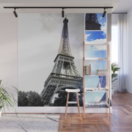 Eiffel Tower Paris in Black and White with Blue Stripe Wall Mural