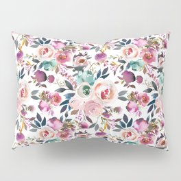 Hand painted blush pink purple watercolor floral Pillow Sham