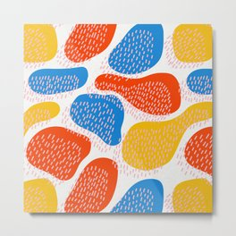 Abstract Orange, Blue and Yellow Memphis Inspired Pattern Metal Print