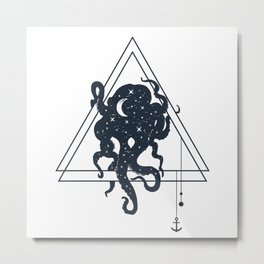 Octopus. Geometric Style Metal Print