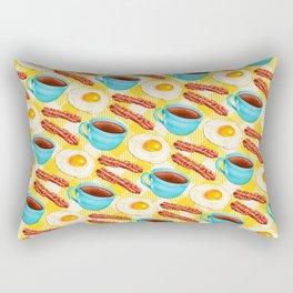 Coffee, Bacon & Eggs Pattern - Yellow Check Rectangular Pillow