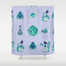 Outer Space Pattern Astronauts Rocket Ship Space Ship Purple Turquoise Shower Curtain