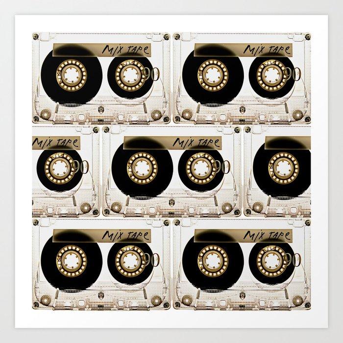 Retro classic vintage transparent mix cassette tape Kunstdrucke