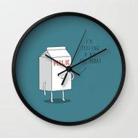 milk Wall Clocks featuring Milk by Jaco Haasbroek