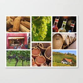 Wine and Vineyard Collage - Cafe or Kitchen Decor Canvas Print