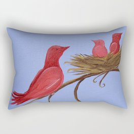 Mama and Baby Birds Rectangular Pillow