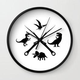 Hipster Dinosaurs Logo (black version) Wall Clock