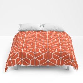 Red hexagons Comforters