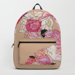 Peony Wreath Painting (peach) Backpack