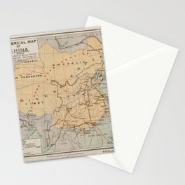 Beautiful 1899 Vintage Map of China Stationery Cards