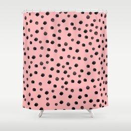 raspberry spotty mess Shower Curtain