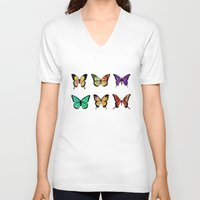 butterflies V-neck T-shirts featuring Butterflies by ShaMiLa