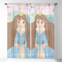 Fairy Tale Princess With Her Story Book Castle - Blue Dress Sheer Curtain