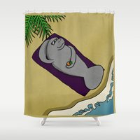 manatee Shower Curtains featuring Sunny Manatee by mikaelak
