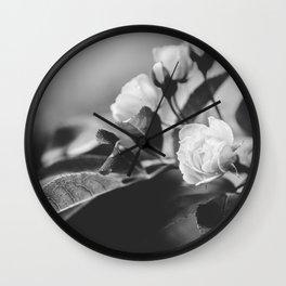 Mini Roses Black White Wall Clock