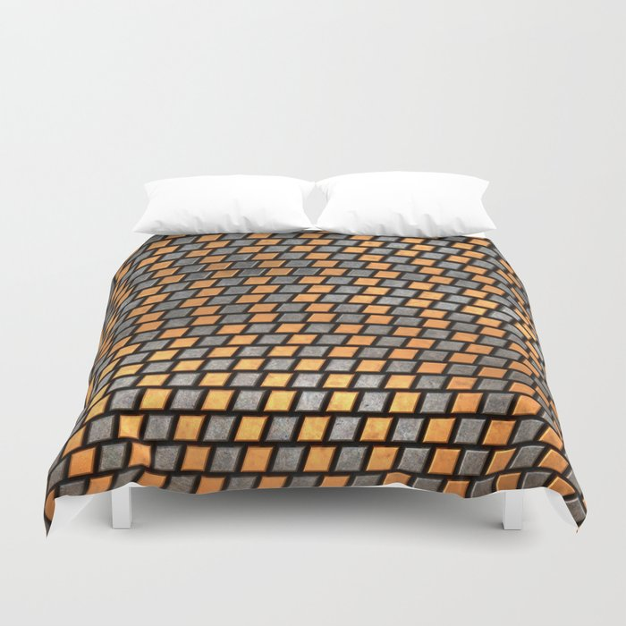 Irregular Chequers - Black Steel and Copper - Industrial Chess Board Pattern Duvet Cover