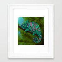 chameleon Framed Art Prints featuring Chameleon by Ben Geiger