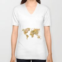 vintage map V-neck T-shirts featuring  World Map Yellow Vintage by City Art Posters