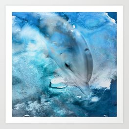 Watercolor Dolphin  Digital Art Art Print