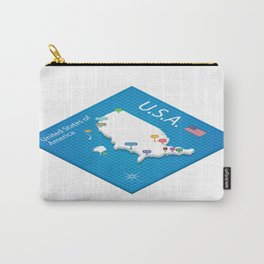 Isometric map of the USA - 3D Vector Illustration Carry-All Pouch