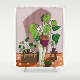 boys with love for plants illustration painting Shower Curtain